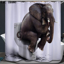 LzL Home Elephant 3D Shower Curtain Funny Animal Pattern Bathroom Curtain Waterproof Polyester Fabric Unique Design Home Decor 3d elephant pattern bathroom waterproof shower curtain