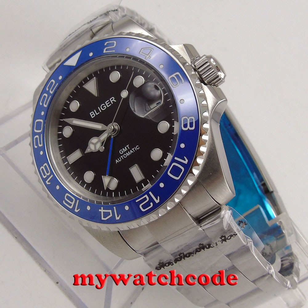 40mm Bliger black dial GMT hands date sapphire glass automatic mens watch P182