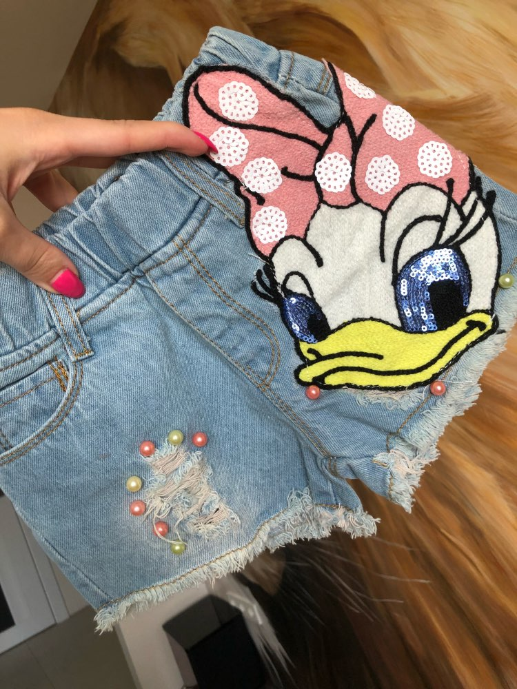 2018 Summer Toddler girls jean   shorts   kid Baby Girl Cotton Cartoon Duck Patch Sequin Pearl Denim hole   Shorts   pants Girls