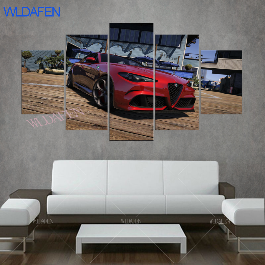 Various Sports Cars In Grand Theft Auto Gta V 5 .HD Prints Paintings For Living  Room On The Wall Decorative Pictures 5 Pieces In Painting U0026 Calligraphy  From ...