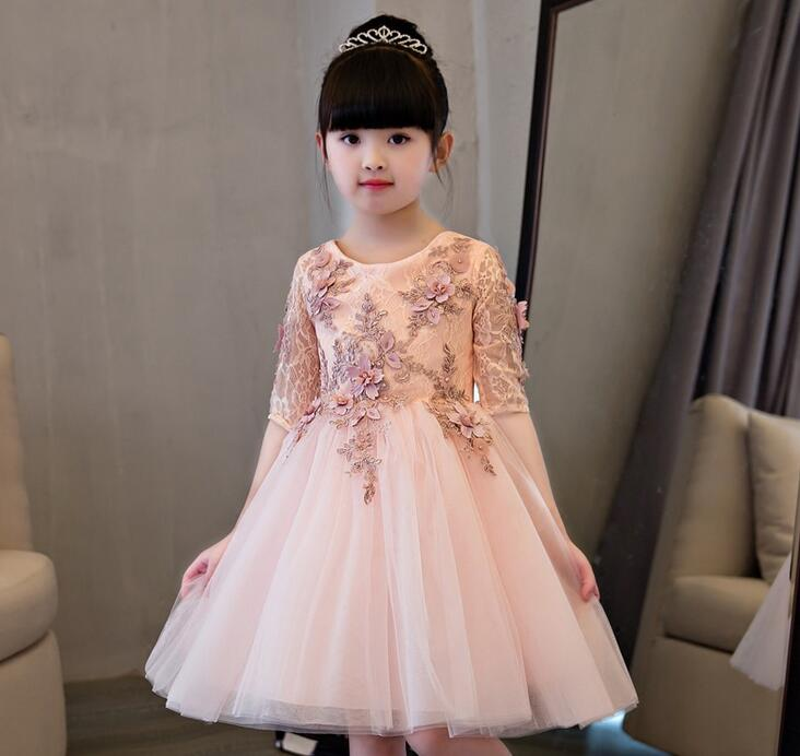 Elegant Flower Girl Dress For Weddings Appliques Tulle Evening Party Dresses Half Sleeve Baby Christening Dresses Prom GownElegant Flower Girl Dress For Weddings Appliques Tulle Evening Party Dresses Half Sleeve Baby Christening Dresses Prom Gown