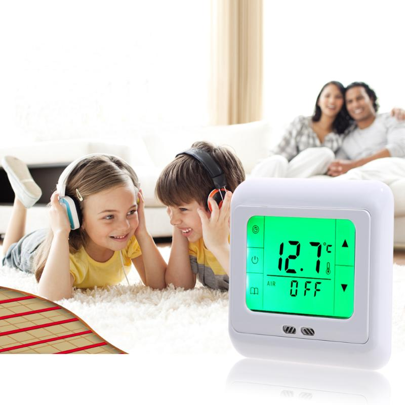 VKTECH Touch Screen Heating Thermostat for Warm Floor Heat Electric Heating System Temperature Controller Thermostat Stand Type floor heating thermostat temperature control switch electric film thermostat electric geothermal uth 170r