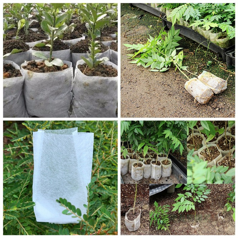 Garden Supplies Nursery Pots Plant-Fiber Seedling-Raising Bags 100
