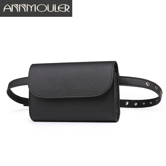 Annmouler Solid Color Waist Packs Fashion Small Fanny Pack Women Black Waist Belt Bag Adjustable Hip Bag for Girls Bum Pouch