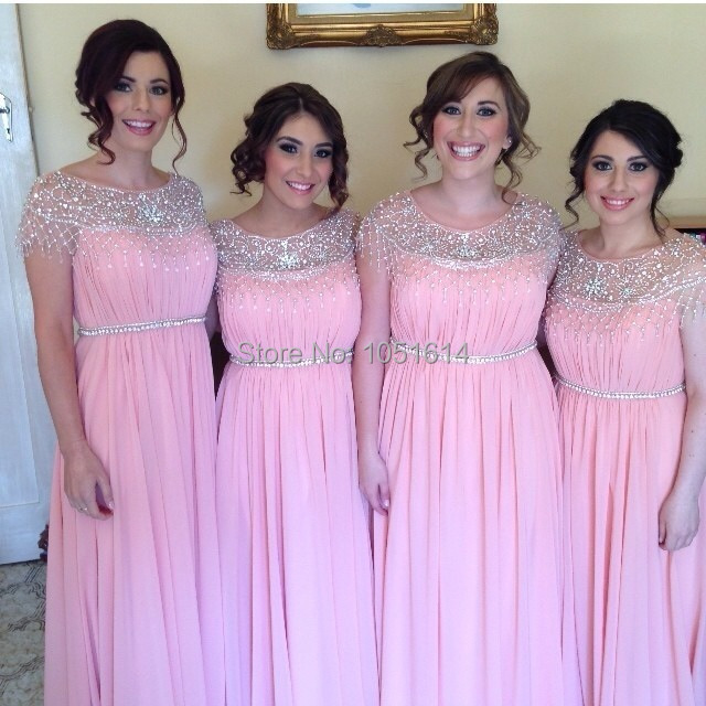 A Line Pink Chiffon Cap Sleeve Silver Beaded Crystals Collar Belt Long Maxi Bridesmaid Dress