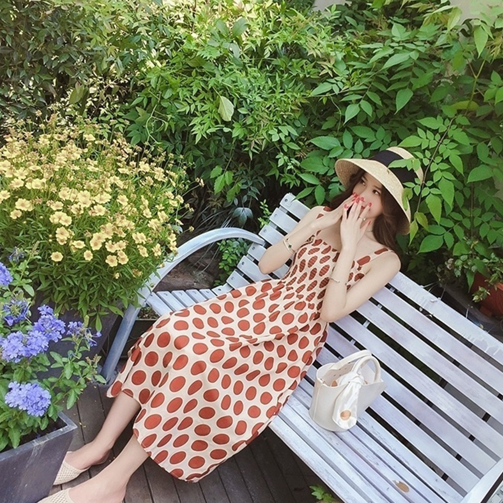 Vintage Dot Slim Beach Dress Sumer Party Dress Gothic Spaghetti Strap Long Orange Dress Vintage Ruffle Dress Harajuku in Dresses from Women 39 s Clothing