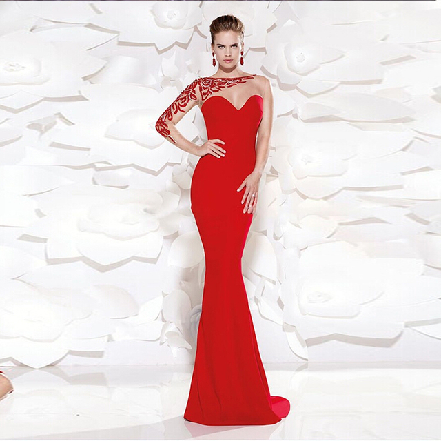 Fashion Designer Long Red Evening Dress Sexy Mermaid One Shoulder ...