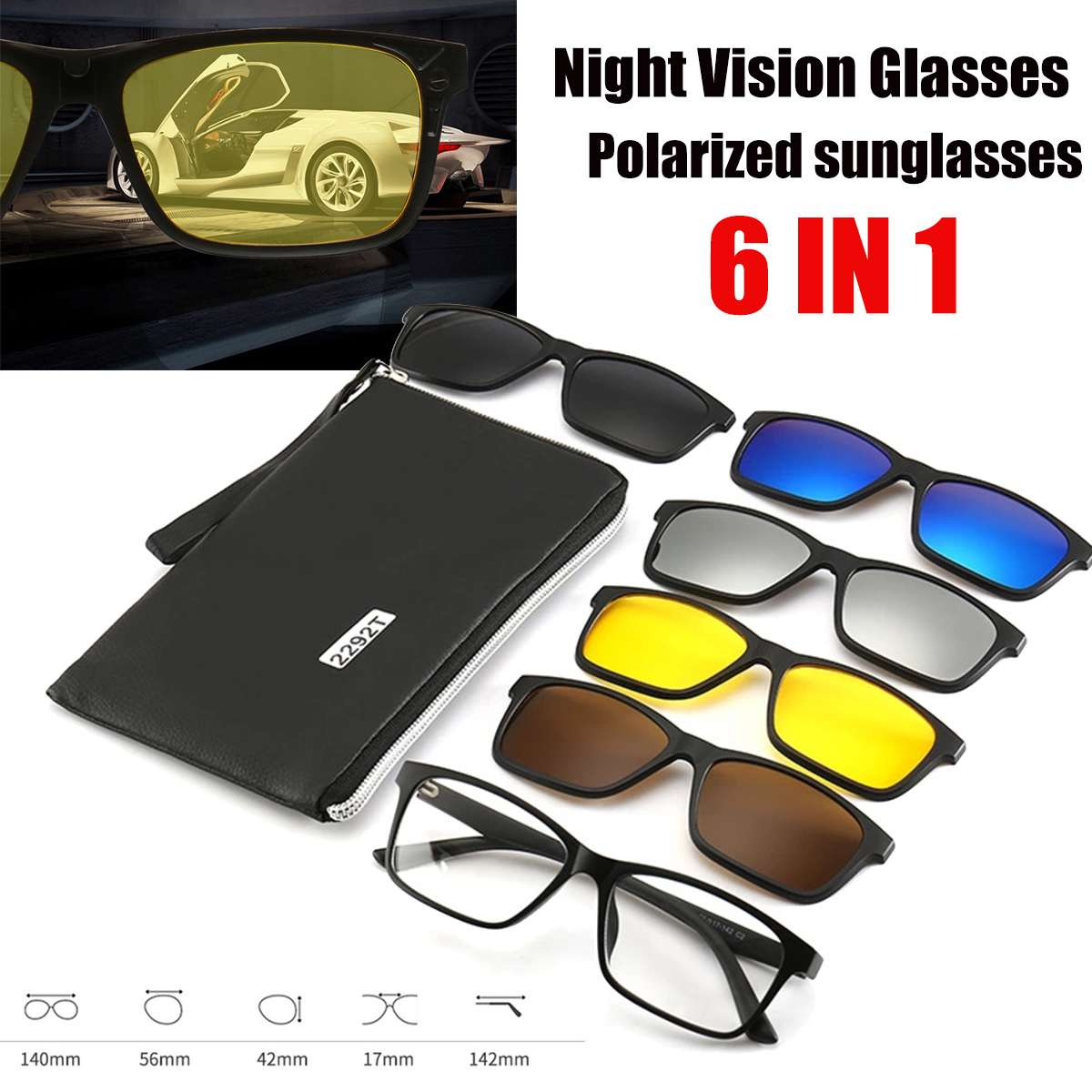 Newest <font><b>6</b></font> <font><b>IN</b></font> <font><b>1</b></font> Night Vision Glasses Polarized <font><b>Sunglasses</b></font> TR90 Retro Frame Eyewear Night Vision Driving Optical Glasses With Bag image