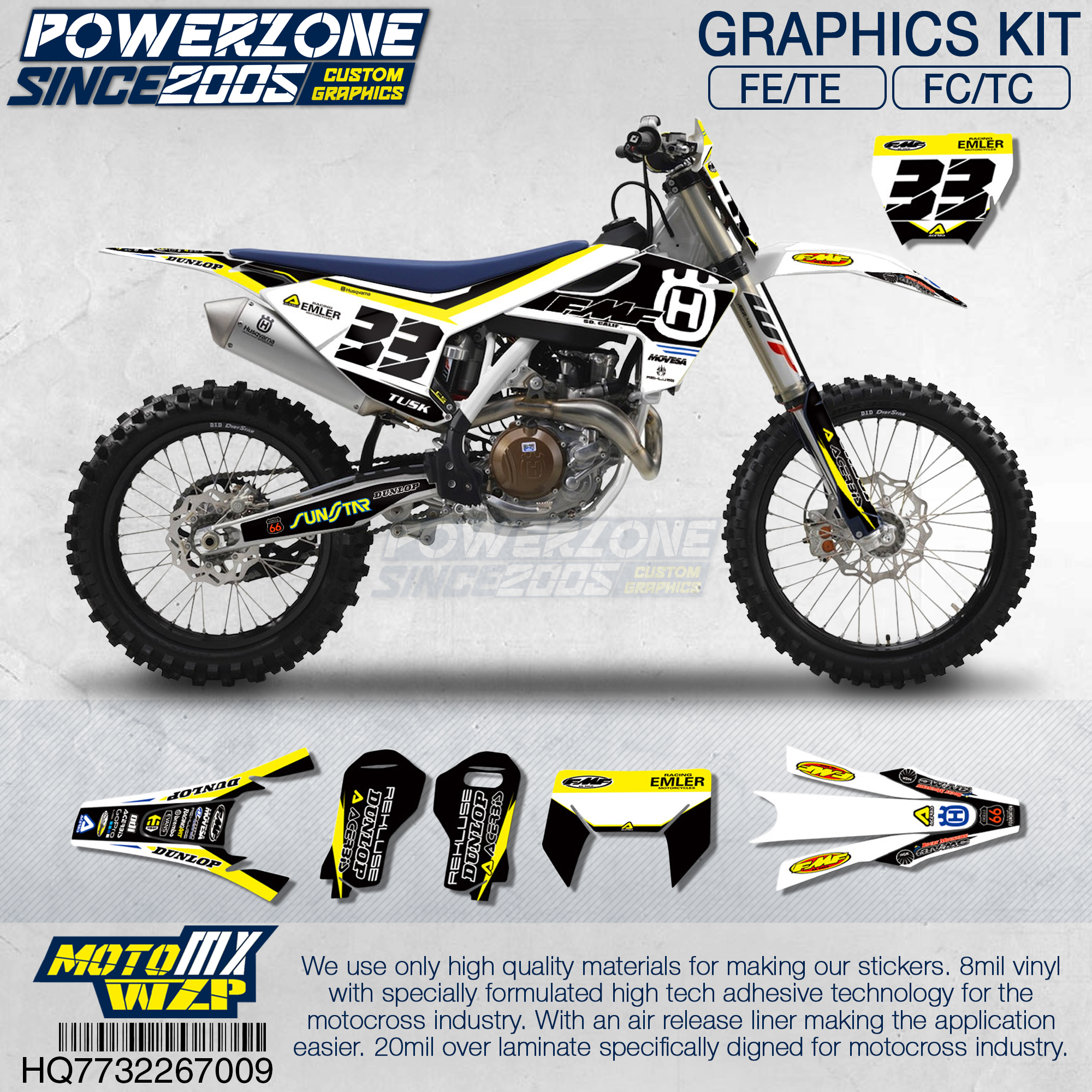 PowerZone Customized Team Graphics Backgrounds Decals 3M Custom Stickers For Husqvarna 2017 To 2019 FE TE FC TC 250 To 500cc 709