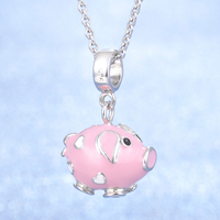 2018 Original New Design Animal Cute Pink Pig Design Popular Jewelry S925 Sterling Silver Snake/Cross Chain Necklace
