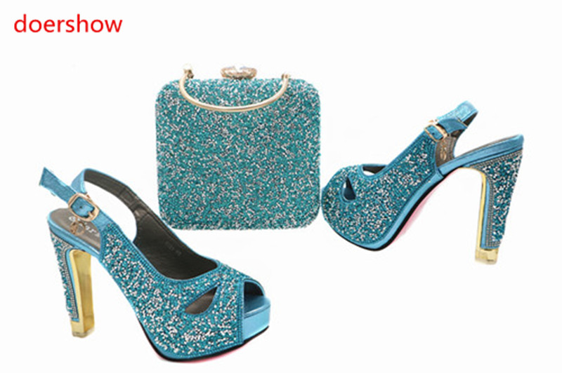 doershow Hot Selling Blue Shoes And Bags To Match African Shoes and Bag Sets Italian Shoes Matching With Bags LY3-14 yh01 hot sale african matching shoes and bag with stone fashion dress shoes and bags free shipping