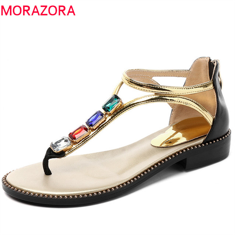 MORAZORA 2019 top quality genuine leather women sandals crystal summer shoes zipper simple low heels casual