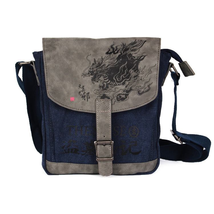 Hot Fiction Time Raiders cartoo Dragon Printed canvas cover fashion man woman crossbody bag Leisure Handbags schoolbag