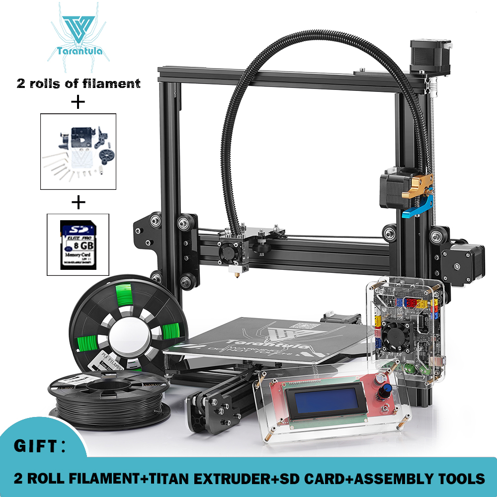 2017 New Tevo Tarantula 3D Printer DIY Kit reprap prusa I3 impresora 3d printer with 2 rolls 3d filament & Titan extruder  free 2017 newest tevo tarantula prusa i3 3d printer diy kit