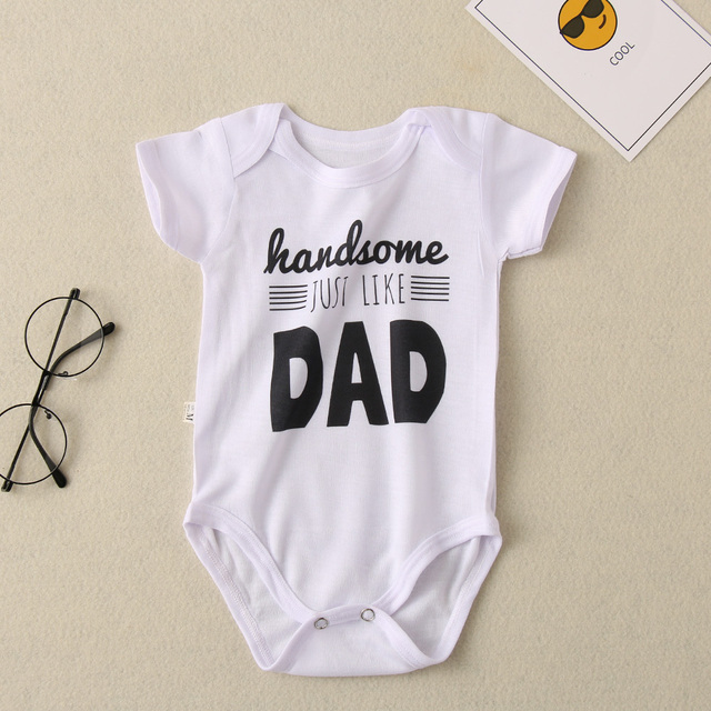 Summer White Letters Newborn Toddler Infant Baby Boys Girls Cotton Onesies Short Sleeve Romper Jumpsuit Playsuit Baby Clothes