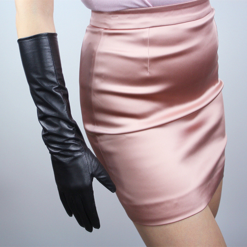 2018 Новый осень/зима женские перчатки из натуральной кожи из овечьей кожи 40 см длинные перчатки модные перчатки TB49