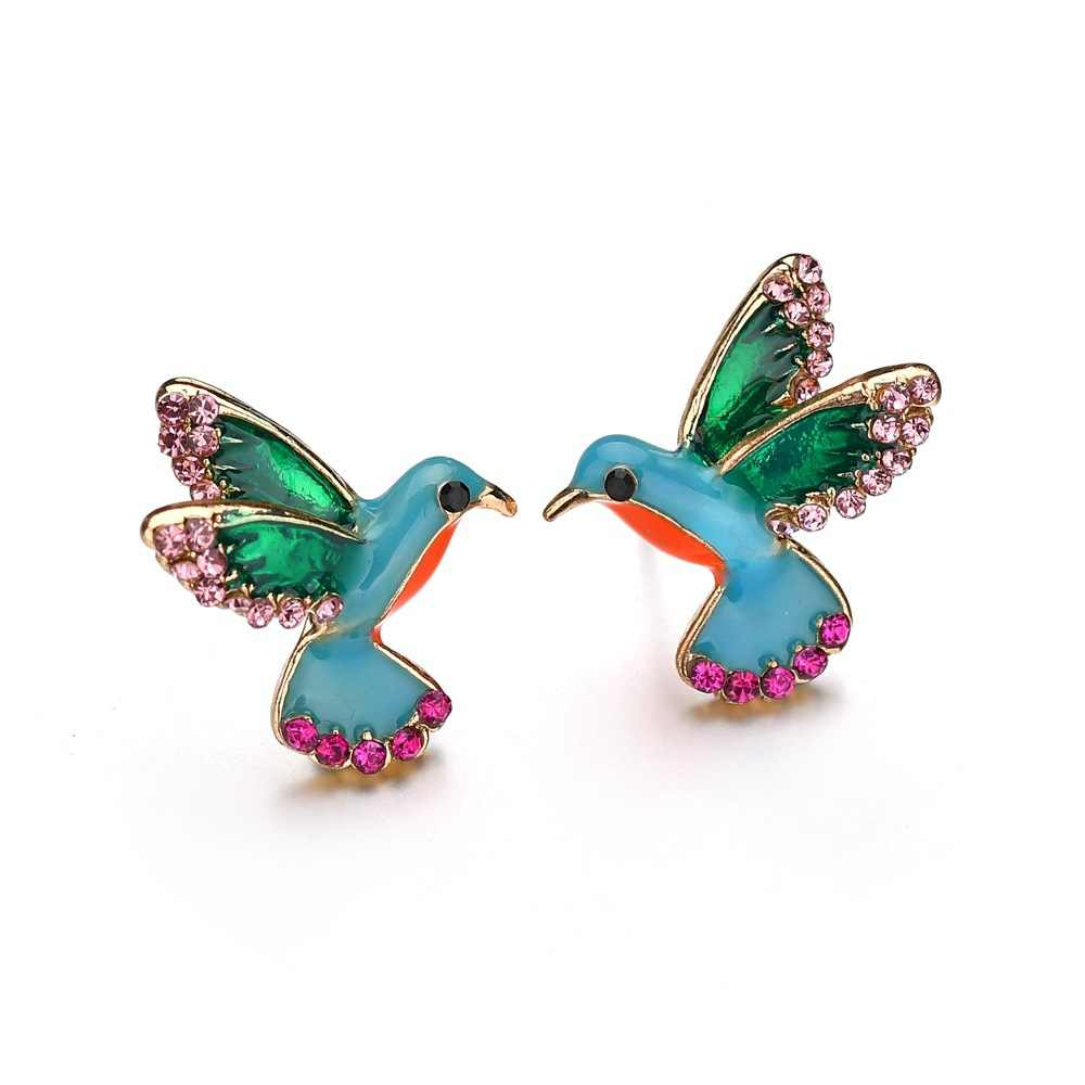 SexeMara Fashion Rhinestone Birds Stud Earrings for Women Vintage Blue Enamel Earring Fashion Jewelry Brincos