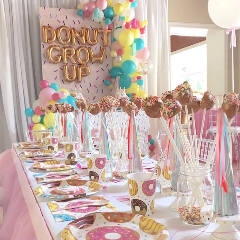 Donut Theme Birthday Party Kit Paper Cups Plate Napkins Candy Balloons Happy Decoration Kids Adult Supplies