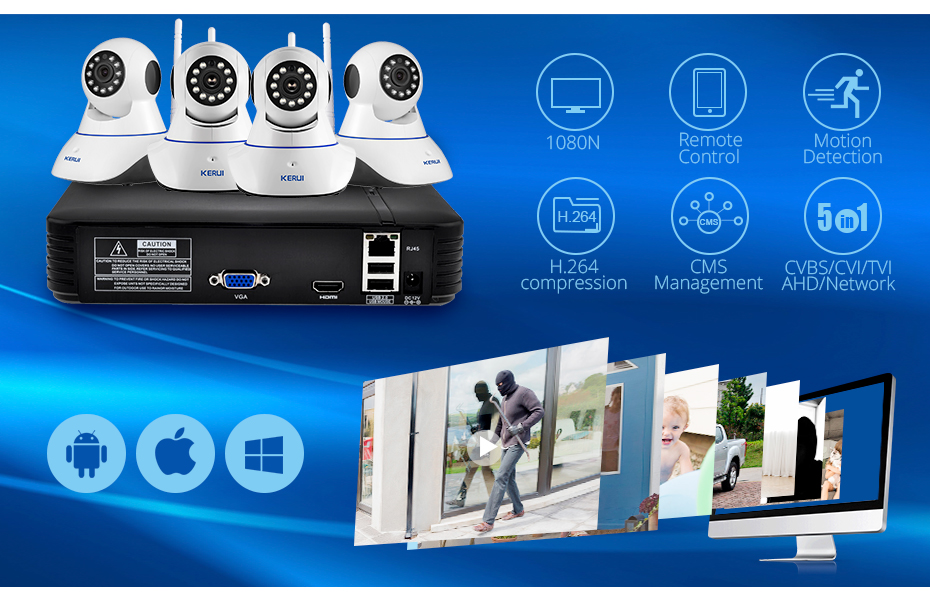 home video system video recorder with wifi ip camera