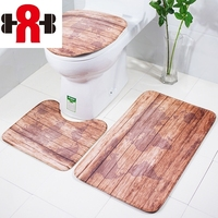 3pcs/set Bathroom Mat Set Wood Pattern Bath Mat Anti Slip Bathroom Rug Soft Foam Toilet Mat and Bath Rug Sets