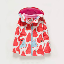 Girls Trench Coat Knitted Cotton & Fleece Liner Pear Printed Hooded Windbreaker Jacket New Winter Girls Jackets Fashion Coat