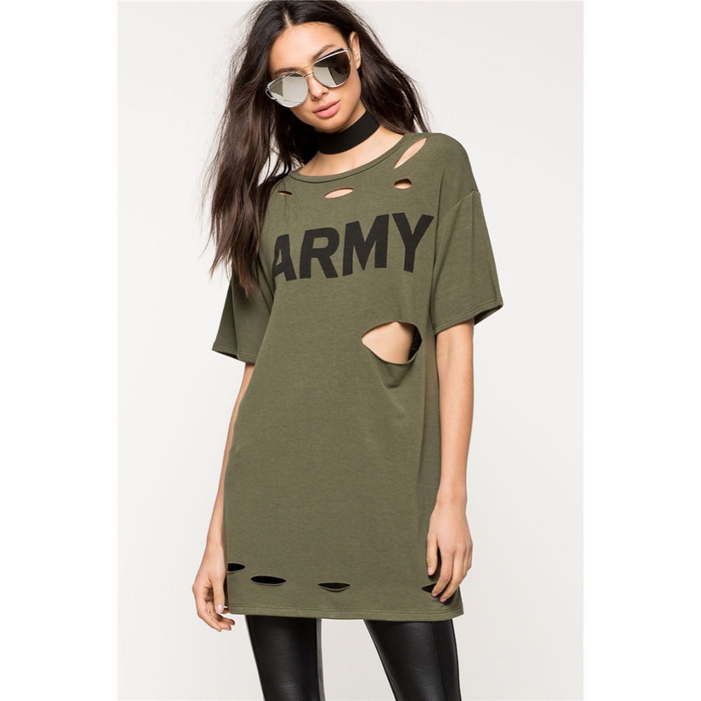 Fashion Short Sleeve Letter Army Printed Green Dress with Holes ...