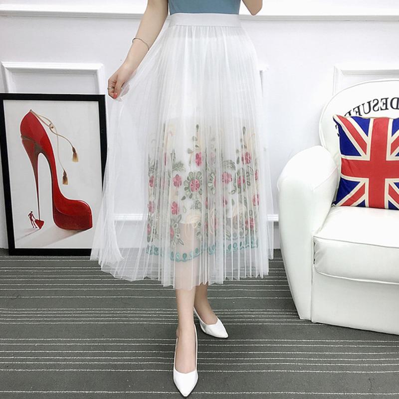 النساء أزياء فخمة التنانير الطويلة أسود أبيض الأزهار شبكة التطريز saia ألف خط faldas الصيف البوهيمي ميدي التنورة
