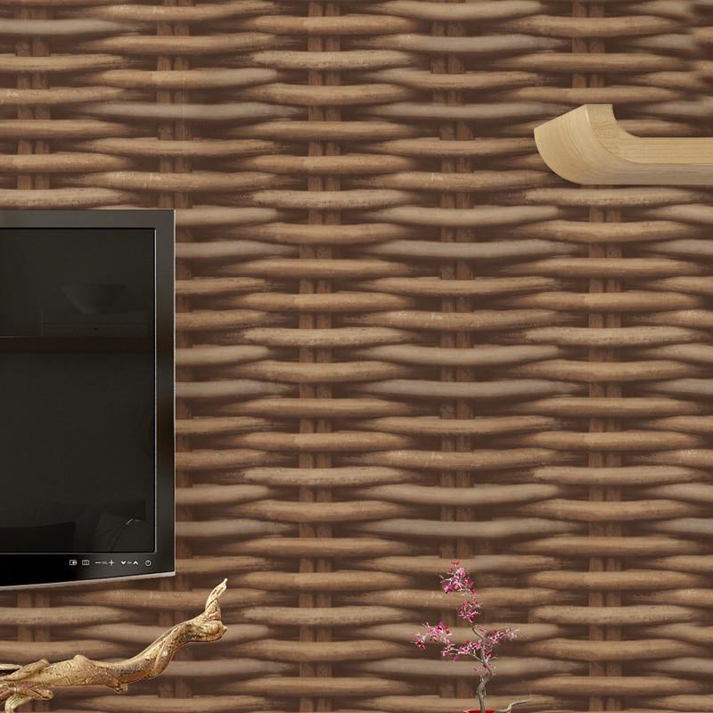 cena ratanu za roli - Chinese Style 3D Simulation Rattan Wallpaper For Walls Roll Living Room Restaurant Study PVC Vinyl Wallpaper Papel De Parede 3D