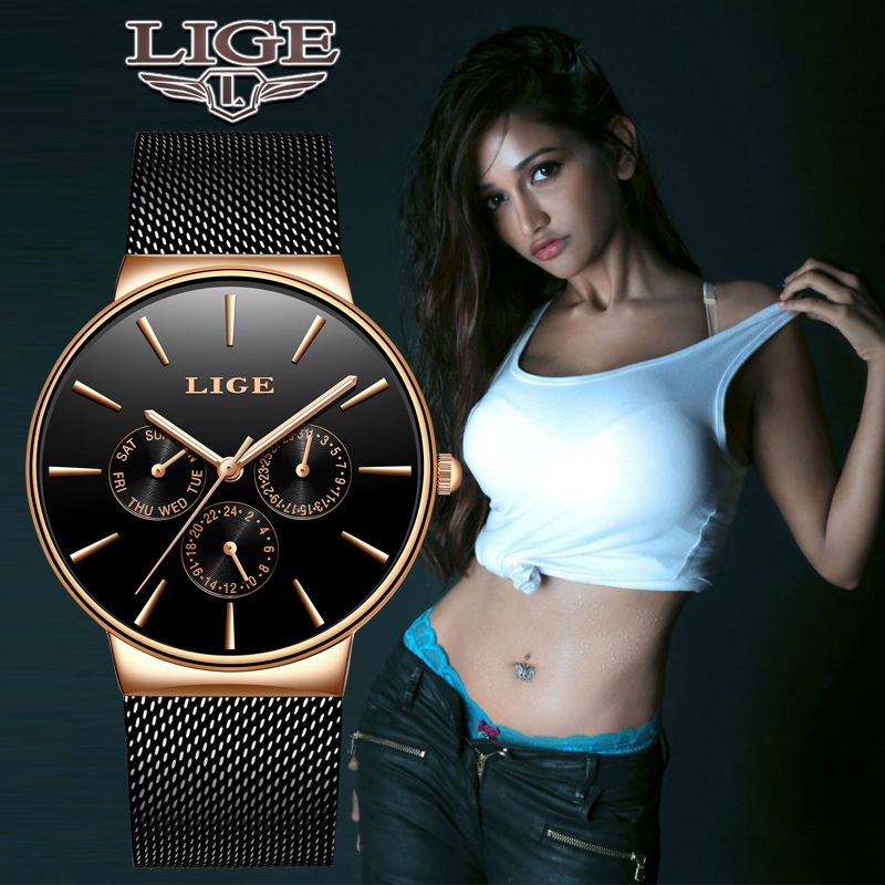 LIGE Women Watches Top Luxury Brand Ladies Fashion Simple Quartz Female Waterproof Watch Lady Casual Clock Relogio Feminino+BoxLIGE Women Watches Top Luxury Brand Ladies Fashion Simple Quartz Female Waterproof Watch Lady Casual Clock Relogio Feminino+Box