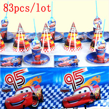 83Pcs/Lot Lightning McQueen Cars Theme Disposable Cup Plate Napkin Banners Boy Birthday Party Decoration For Family Party Supply