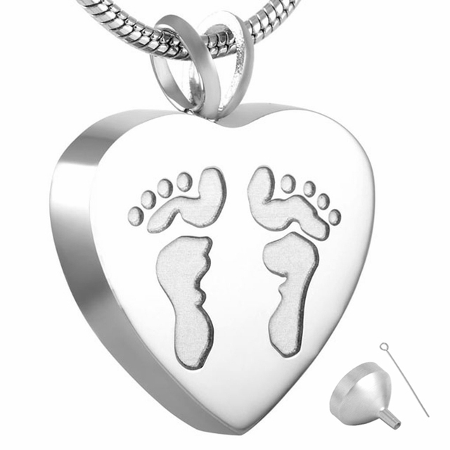 Silver Footprints in Heart Memorial