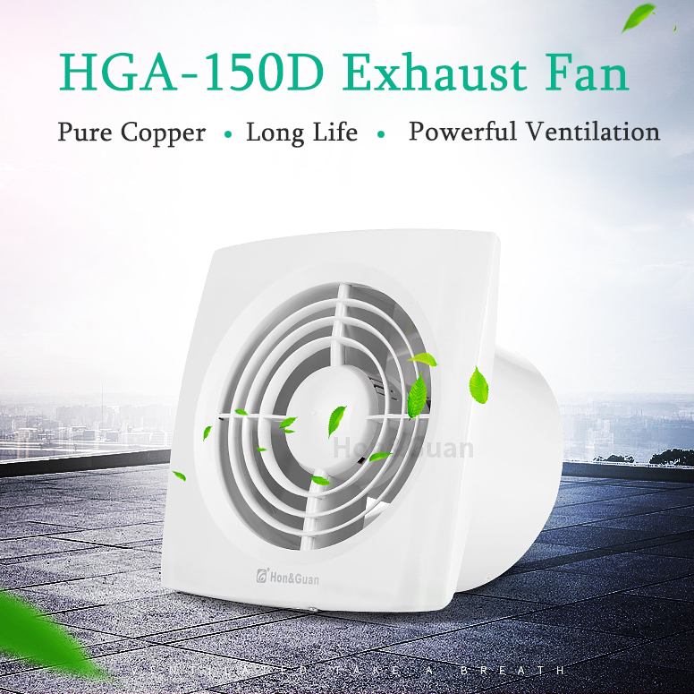 Hon&Guan 6' 150mm HGA-150D HGA 150D Ceiling and Wall mounted Ultra Thin Silence Ventilation Fans 110V Exhaust Fan for Bathroom 12w 4inch ventilation exhaust fan bathroom ceiling wall mount blower window wall kitchen toilet bath fan hole size 100x100mm