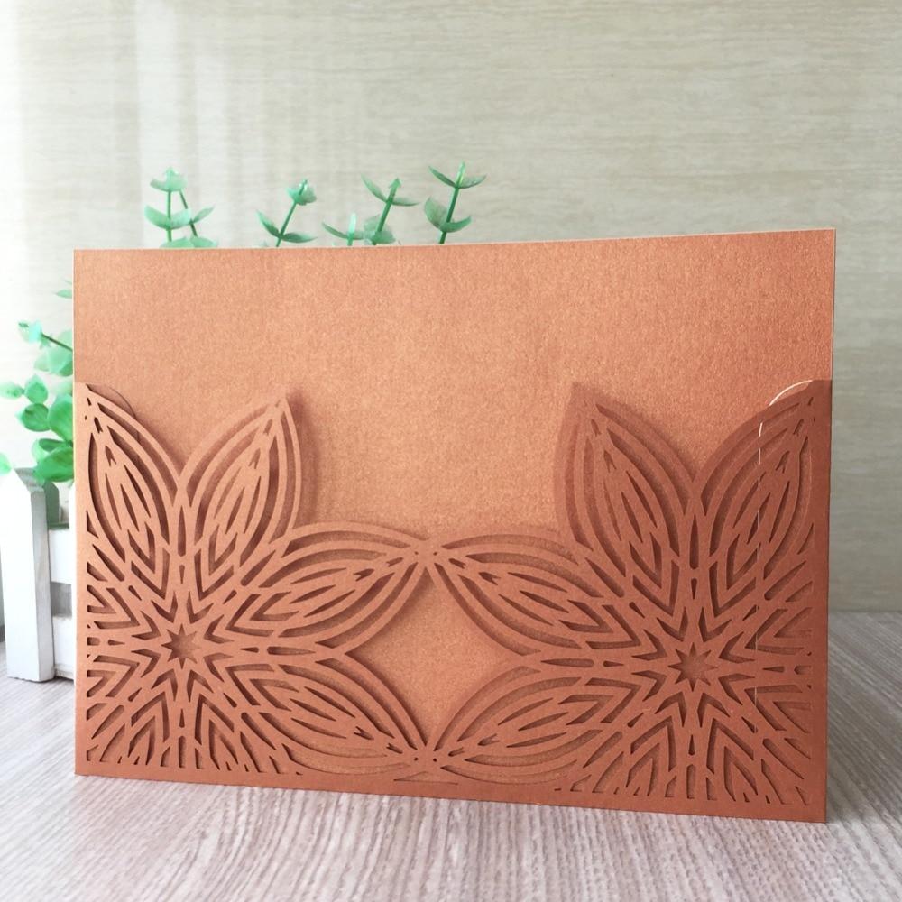 Wedding Invitations Laser Cut Paper: 100pcs/lot Elegant Laser Cut Pearl Paper Personalized