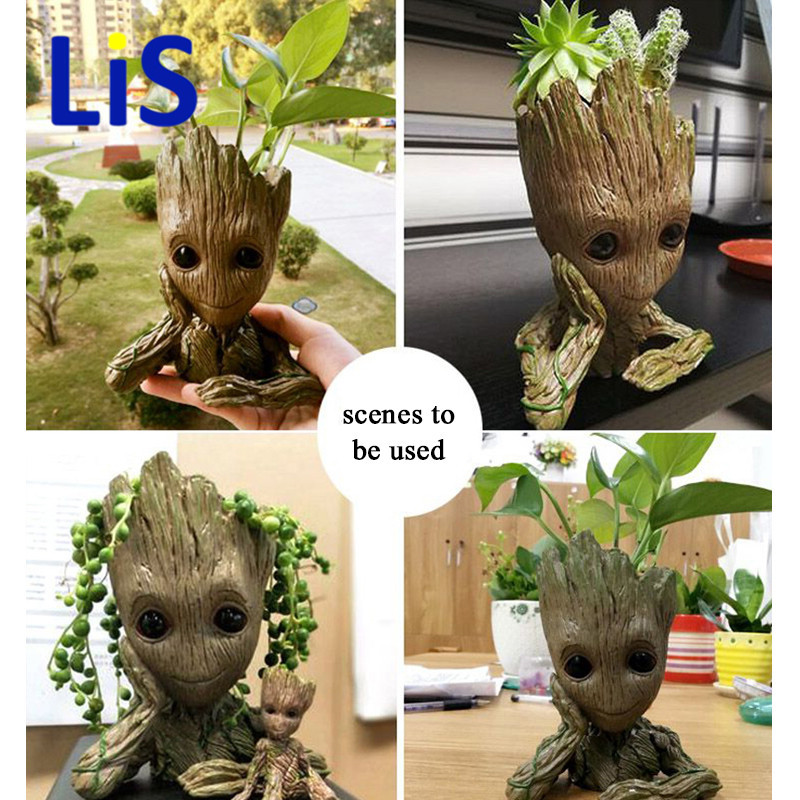 Baby Grot Guardians Anime Action Figures Boys Toys For Girls Figurines Galaxy Model Pen holder And Flower Pot Home Decor close-up