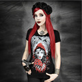 Personalit T-shirt Female Summer Short Sleeved Halloween Nightmare Black Printing Character 3d Shirts Punk Rave tshirt Ladies