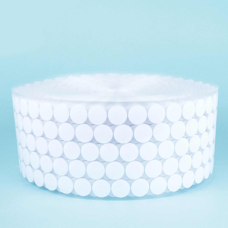 450 pares 10mm Auto adhesivo espalda adhesiva monedas redondas sujetadores gancho y lazo puntos cinta para oficina escolar hogar blanco