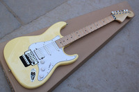 Free Shipping Top Quality Yellow Stratocaster Chrome Tremolo Floyd Rose Custom Body Electric Guitar 31