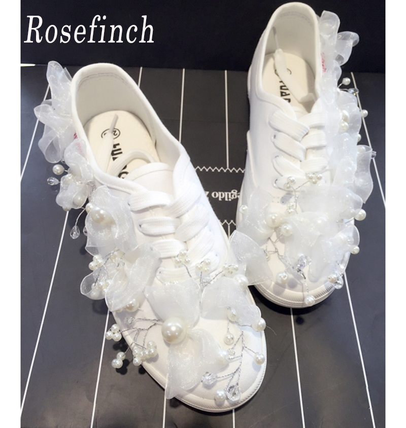 c88173f35d0 Bridal Shoes White Pearls Wedding shoes Flats Personalized Custom Canvas  Rhinestone Beads Sneakers Casual Shoes WK114
