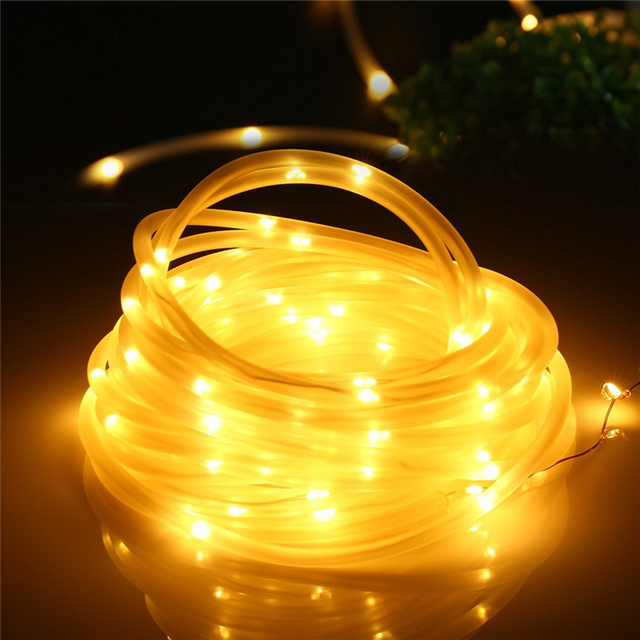Solar String Lights,33ft 100 LED Solar Rope Lights,Decorative Lamps For Patio Garden Camping Christmas Party Wedding(Warm White)