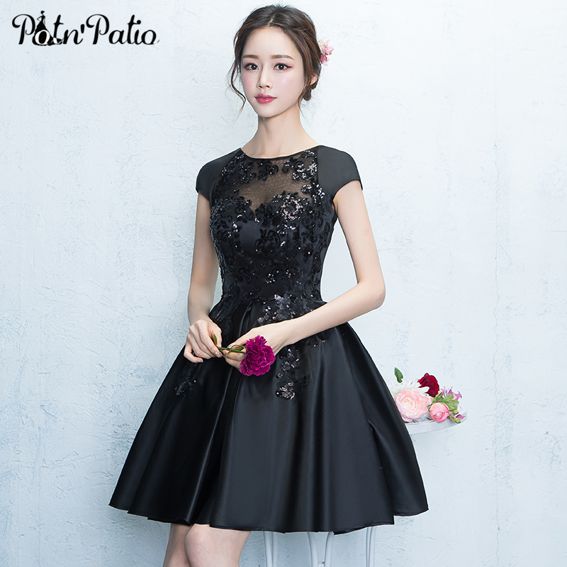 Black Short Satin Cocktail Dresses Sexy Sequin Lace Transparent Short-sleeve Cocktail Party Dress Sweet Party Gowns 2018 cocktail dress