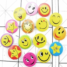 multicolor 24pcs New fashion Cute Smiley Face Badges comic  Pin set is suitable for students/hotel/birthday party 016010001