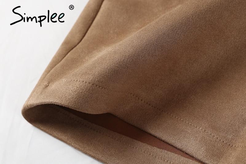 Simplee Autumn vintage leather suede pencil skirt winter 18 Cross high waist skirt Zipper split bodycon short skirts women 10