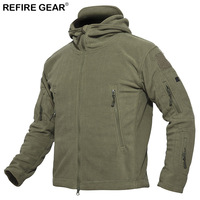 ReFire Gear Winter Windproof Outdoor Jacket Men Warm Windbreaker Fleece Hiking Tactical Jacket Man Hunting Camping Skiing Coat