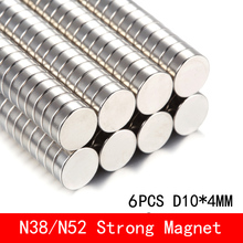 6pcs 10*4 Super Powerful Strong Bulk Small Round NdFeB Neodymium Disc Magnets Dia 10mm x 4mm N38 N52 Rare Earth NdFeB Magnet 1 pack ndfeb magnet ring od 19x15x11 5 mm n38 tube strong neodymium permanent magnets tube rare earth magnets