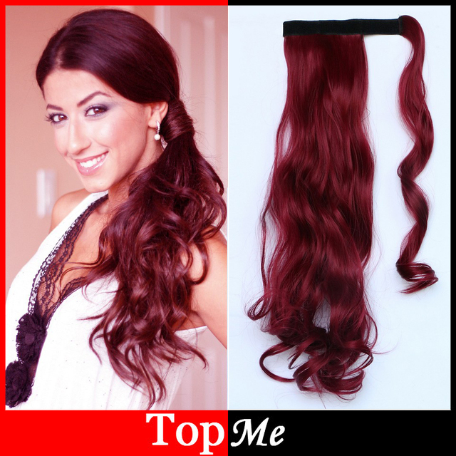 Wine Red Woman Ponytails Afro Curly Synthetic Clips In Hair