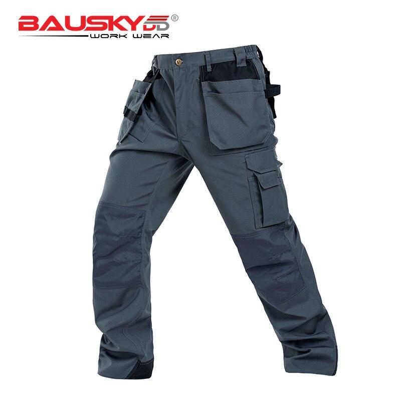 Bauskydd Durable Workwear Polycotton Men's Wear-resistance Multi-pockets Grey Cargo Trousers Work Pants Men Workwear