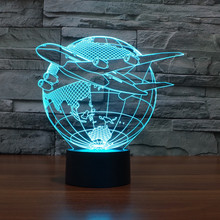 Color changing Flashing touch sensor control Flying out of Asia Acrylic 3D LED Night Light LED PLANE AND EARTH USB table Lamp цена