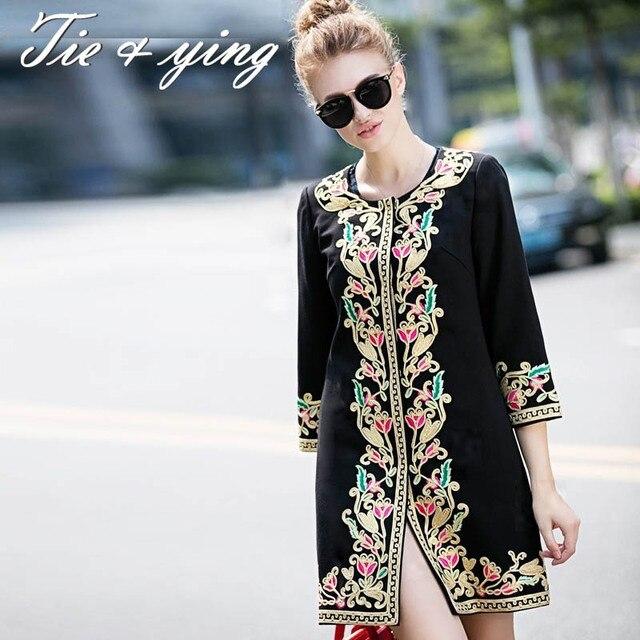Модная одежда женщин пальто 2015 осень и зима женская одежда покупки онлайн старинные королевская вышивка пальто женщина 3XL