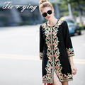 Fashion clothes women trench coat 2015 autumn & winter ladies clothes shopping online vintage  royal embroidery coat female 3XL