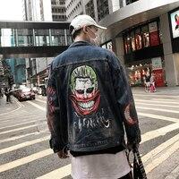 2018 Brand The high Street chinese Coat WaterHarajuku jeans Men's cotton clown press Hip Hop leisure coat bomber jacket Men